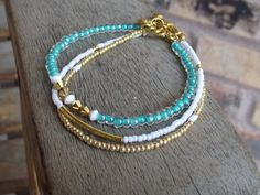 Women's Gold White and Teal Beaded Bracelet by MicheleDawnDesign, $22.00