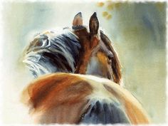 Watercolor Paintings of Horses | Bay Horse Watercolor F1 - landscape, bay, equine, art, scenery, horse ...