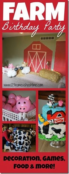 Farm Birthday Party - Super cute party with lots of cute ideas for decorating on a budget, farm birthday games, farm themed food, and an adorable #farm #birthdaycake