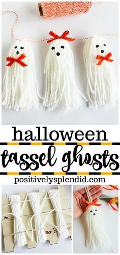 Tassel Ghosts--Easy and Adorable Halloween Craft Idea!