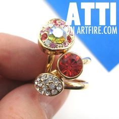 $10 THREE Adjustable Rhinestone Bling Rings in Red White and Pink on Gold