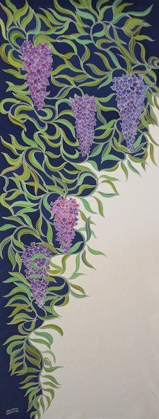 http://www.hellennevermillion.com/Wisteria Navy & White © Hellenne Vermillion 2016 painted on silk with acid dyes