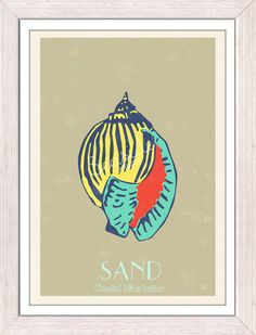 Pop Art Sea ShellSand Sea life print free by seasideprints