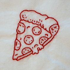 pizza - - Sneak peek at the next set of embroidery designs I'm working on! A set of twelve little designs, each one is about wide. Embroidery On Clothes, Simple Embroidery, Shirt Embroidery, Hand Embroidery Stitches, Hand Embroidery Designs, Cross Stitch Embroidery, Broderie Anglaise Fabric, T-shirt Broderie, Yarn Inspiration