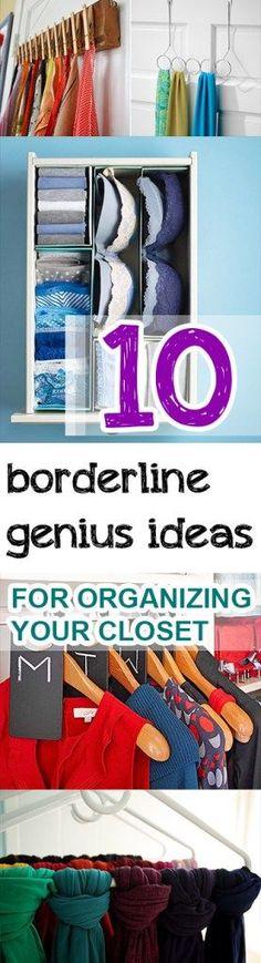 Genius Ideas for Organizing Your Closet 10 Borderline Genius Ideas for Organizing Your Closet Organisation Hacks, Organizing Hacks, Organizing Your Home, Closet Organization, Clothing Organization, Clothing Storage, Organize Life, Genius Ideas, Diy Organizer