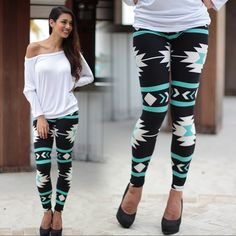 BEST SELLER ALERT! Our Teal And Black Tribal Print Leggings are the ultimate in comfort and style. The best way to wear these is any way! Pair with a top, jacket, sweater, or just about anything!