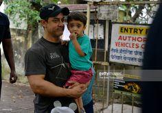 Aamir Khan dropping his son Azad at a nursery school in Mumbai.