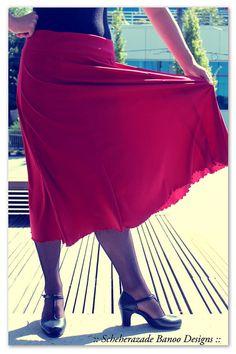 Flamenco skirt A line basic practice skirt in red with no ruffles by ScheherazadeBanoo, $45.00