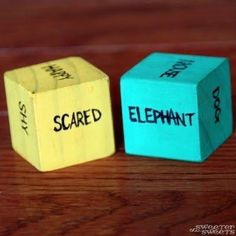 Dice with emotions & animals--kids have to act them out. A great rainy day game for the kids!