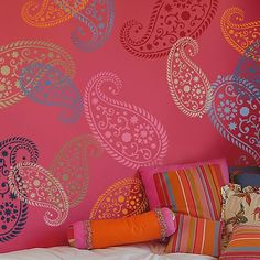 Vintage Paisley Stencil- Pink room inspiration! Cutting Edge Stencils- @Natalie Pacelli