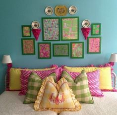 Love the fabrics and color combinations...happy bedroom:)