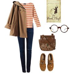 Dark jeans, red and white striped shirt, brown jacket