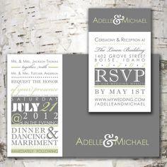 Chic Wedding Invitation Suite Design at www.stewartdesignstudios.etsy.com