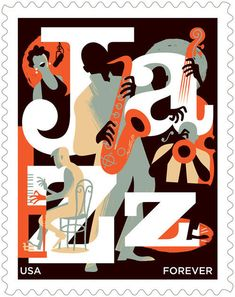 paulrogersstudio Advertising and Institutional Postage stamp for the USPS honoring jazz. Issue date: March 2011