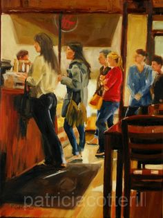 Green Sage cafe, Asheville. Original oil painting by Patricia Cotterill.