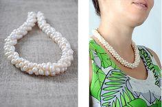 pearl crochet rope necklace  #beadwork #jewelry