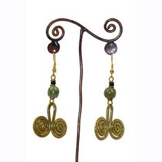 Hammered Brass Earrings - Musical