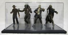 Police lineup featuring your favorite horror movie action figures including jason voorhees, freddy kreuger, evil ash, and a predator by 88MilesPerHour