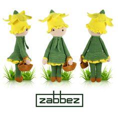 Daffodil Nancy flower doll - amigurumi - crochet pattern by Zabbez