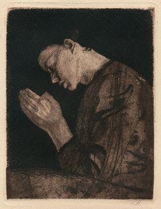Woman Praying, Kathe Kollwitz, aquatint with softground etching printed in a dark brown ink, 1892