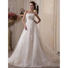 uma linha de scalloped-edge trem capela vestido de noiva de cetim tule – BRL R$ 1.137,76
