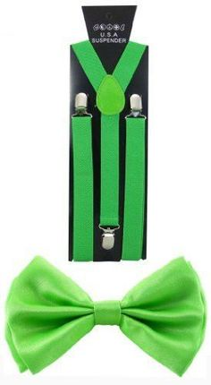 Lime Green TODDLER KIDS SUSPENDERS and BOW TIE COMBO SET Adjustable Boys Girls