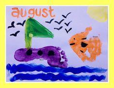 Our Handprint and Footprint Calendar - Andrea Dekker Daycare Crafts, Toddler Crafts, Kid Crafts, Calender Print, Handprint Painting, Craft Activities For Kids, Craft Ideas, Preschool Worksheets, Christmas Gifts To Make