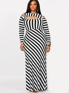 """Lourdes"" Cold Shoulder Stripe Maxi Dress from Monif C. http://ti-ny.net/mzjt"