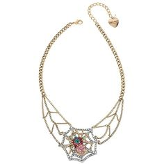 Betsey Johnson Spider Lux Web Necklace ($55) ❤ liked on Polyvore featuring jewelry, necklaces, multi, betsey johnson jewelry, gold tone jewelry, heart jewelry, chain necklaces and heart chain necklace