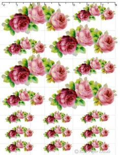 ro03-Beautiful-Vantage-Chic-Shabby-Victorian-3-Red-Pink-Roses-Waterslide-Decals