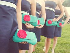 Bridesmaid Clutch Set, Bridal Clutch Purse, Flower Brooch, Set of Aqua Turquoise Blue Red, Choose Colors via Etsy Wedding Clutch, Bridal Clutch, Bling Wedding, Dream Wedding, Fall Wedding, Wedding Flowers, Red And Teal, Coral Pink, Aqua