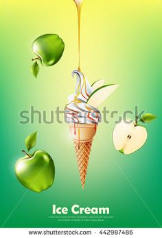 Ice cream in the cone, Pour green apple syrup and a lot of green apple background, transparent Vector