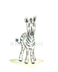 A loveable baby zebra with happy stripes, this little fella brightens up any corner of baby's nursery. - art print from an original watercolor, gouache, and acrylic painting by Kit Chase. - archival m