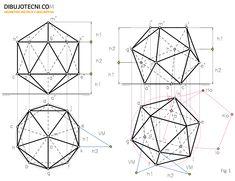Icosaedro con una de sus diagonales perpendicular a uno de los planos de proyección y con una de sus caras coincidente en con plano horizont...