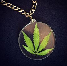 Real Marijuana Leaf Pendant-Weed Leaf-Pot by HybridMomentsDesigns