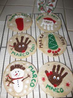 Salt dough ornaments hand-and-foot-print-art