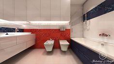 Our new project: white/ red/ navy blue modern bathroom. Kolodziej & Szmyt