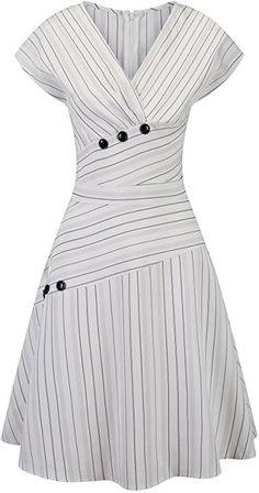 Pinup Fashion Women's V Neck Short Sleeve Summer Casual Elegant Midi Dress White M at Amazon Women's Clothing store: