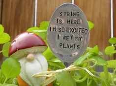 Spring is here I'm so excited I wet my plants garden pick hand stamped spoon - plant marker - garden marker for planter - bed re-purposed