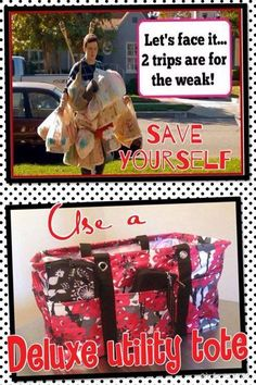 Put your bags in a bag; the Deluxe Utility Tote and the Large Utility Tote are GREAT for helping out with groceries!