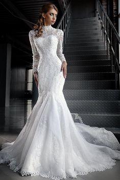 12 Wedding Dresses with Long Sleeves | Turtleneck wedding dress ...