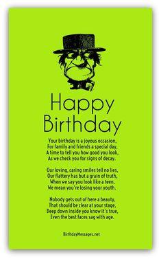 Best 20 Birthday Poems for Him Birthday Poem For Friend, Funny Happy Birthday Poems, Romantic Birthday Messages, Funny Birthday Message, Birthday Verses For Cards, Birthday Images Funny, Funny Poems, Birthday Card Sayings, Happy Birthday Fun