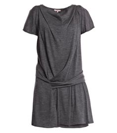 Wool Jersey Dress by Vanessa Bruno. Light grey, loose fitting, wool-jersey dress with a draped boat-neck, short sleeves, a draped drop-down waist detail and a sheer grey silk slip with a longer hem. #Matchesfashion