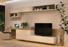 SISTEMA MURAL 62 House Rooms, Living Room Tv Unit Designs, House Design, Home Room Design, Living Room Designs, Tv Room Design, Dining Table In Living Room, Room Design, Desk In Living Room