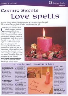 Magick Spells: BOS Casting Simple Love Spells page. Magick Spells, Candle Spells, Witchcraft, Spells For Beginners, Online Psychic, Witch Spell, Candle Magic, Love Spells, Wicca Love Spell
