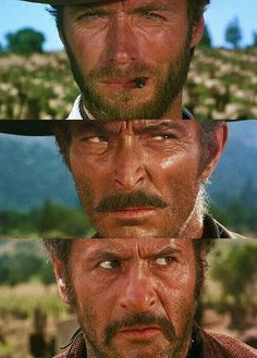 "The Good, the Bad, and the Ugly.  ""El Bueno, el Malo, y el Feo"" (1966). Sergio Leone. Música: Ennio Morricone."