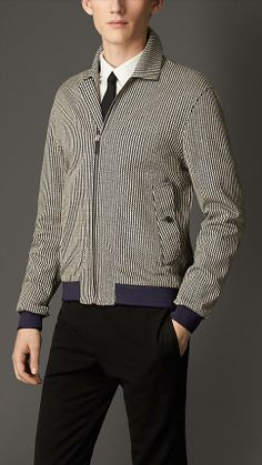 Burberry London Geometric Stripe Linen Cotton Blouson