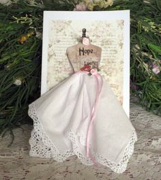Hope Dress Form Hanky Card by onceuponahanky on Etsy,