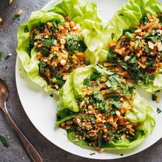 I am not sad that this is my dinner. Peanut Chicken Lettuce Wraps with Garlic Ginger Sauce  click direct link in profile to get straight to the yums. #feedfeed #f52grams #vscofood
