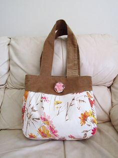 Corduroy and floral purse by madebyHULDA on Etsy, $30.00